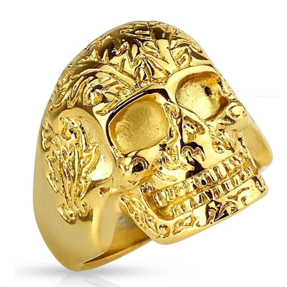 Ring Totenkopf massiv Gold aus Edelstahl Herren