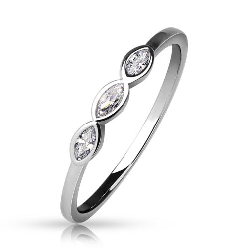 Ring crystals narrow silver brass ladies