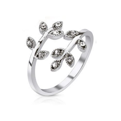 Toe ring leaves silver brass ladies