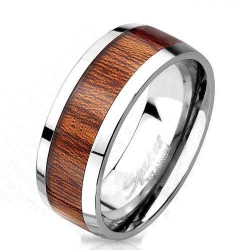 62 (19.7) titanium ring with noble brown wood middle ring for women and men 60 62 64 67 (silver finger ring partner rings engagement rings wedding rings ladies ring titanium ring)
