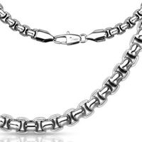 Chain round links silver made of stainless steel unisex