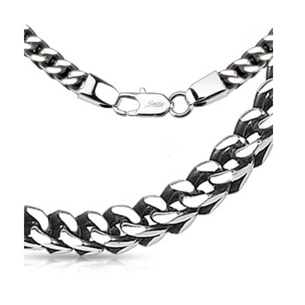 Königskette gewebt massiv Silber aus Edelstahl Unisex