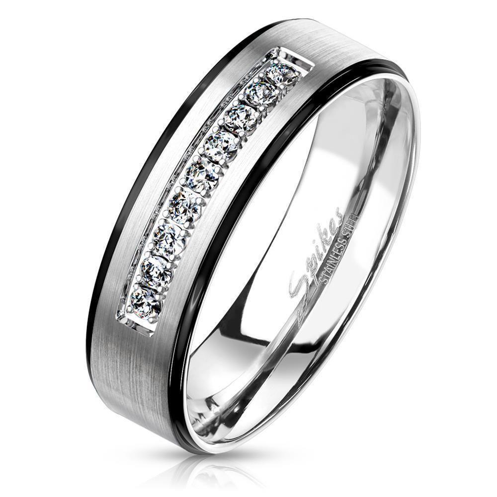 49 (15.6) Ring Paare Silber mit schwarzen Außenringen und Kristallen aus Edelstahl Unisex
