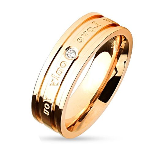 "49 (15.6) engagement rings ""Only Love Only You"" silver rose gold for women & men 49-67 partner rings stainless steel (ring finger ring wedding rings ladies ring stainless steel ring surgical steel women men)"