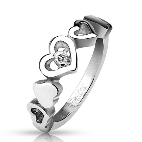 2344 - 49 (15.6) Ring 5 hearts love love with crystal silver stainless steel for women 49 52 54 57 (women finger ring partner rings engagement rings wedding rings women ring stainless steel ring surgical steel)