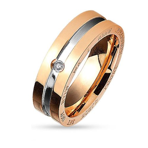 49 (15.6) Couple rings couple rings two-tone for women & men silver-black & silver-rose gold stainless steel 49 to 67 engraved engraving (ring finger ring partner rings engagement rings wedding rings women ring)