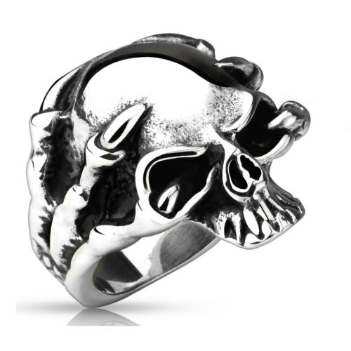 67 (21.3) Dragon Claw Skull Ring Stainless Steel Silver for Men 60 62 64 67 70 (Ring Men Finger Ring Stainless Steel Ring Surgical Steel Skull Ring Men Ring Tod Death Gothic)