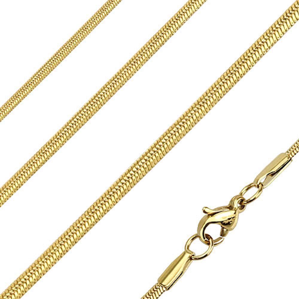 Kette runde Schlangenglieder Gold aus Edelstahl Unisex