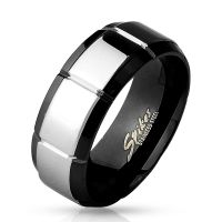 70 (22.3) black-silver finger ring stainless steel mirror...
