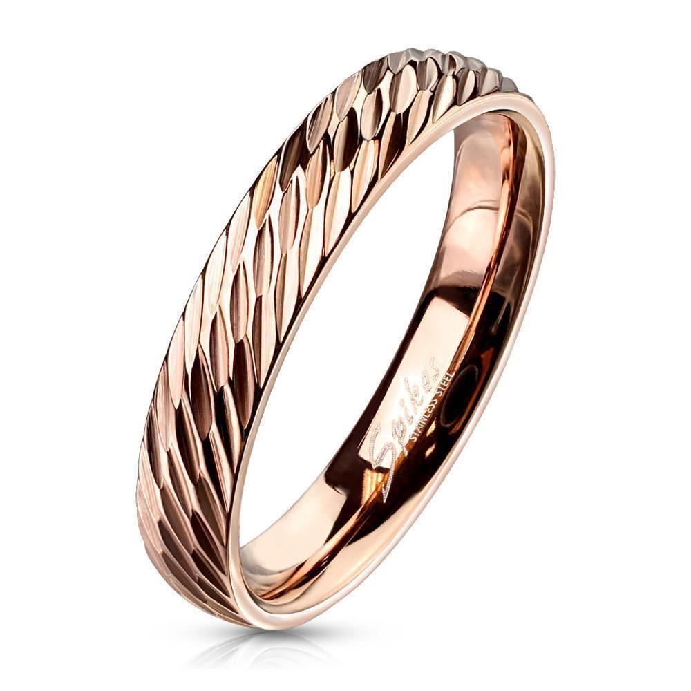 49 (15.6) Ring mit Diamantschnitt Rosegold aus Edelstahl Damen