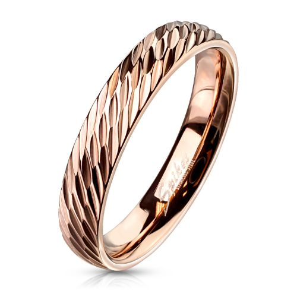 60 (19.1) Ring mit Diamantschnitt Rosegold aus Edelstahl Damen