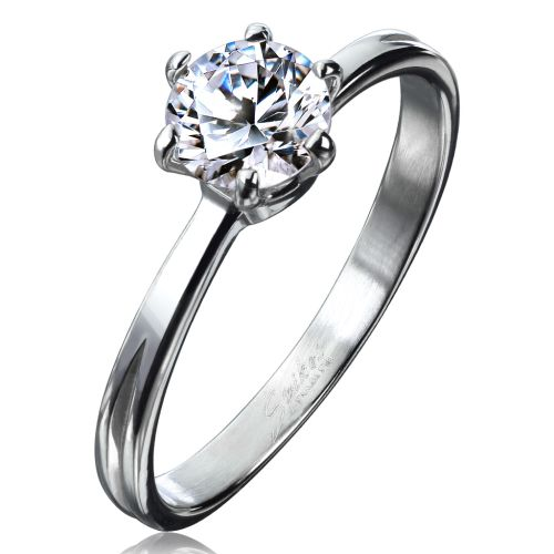 52 (16.6) stone ladies ring classic narrow silver stainless steel zirconia crystal 49 52 54 57 (ring women women finger ring partner rings engagement rings wedding rings women ring stainless steel ring surgical steel)